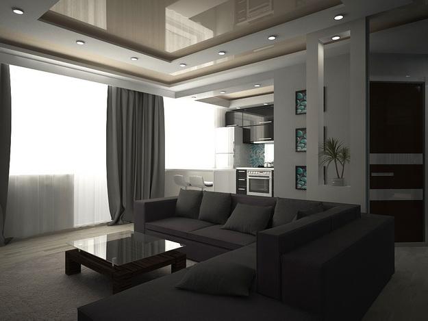 Хай-тек дизайн кухни гостиной на фото 1