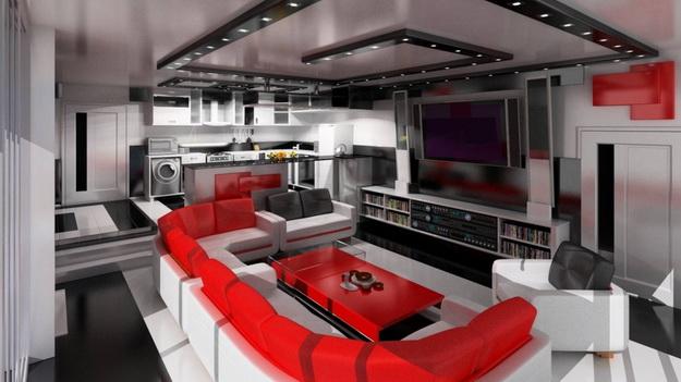 Хай-тек дизайн кухни гостиной на фото 6