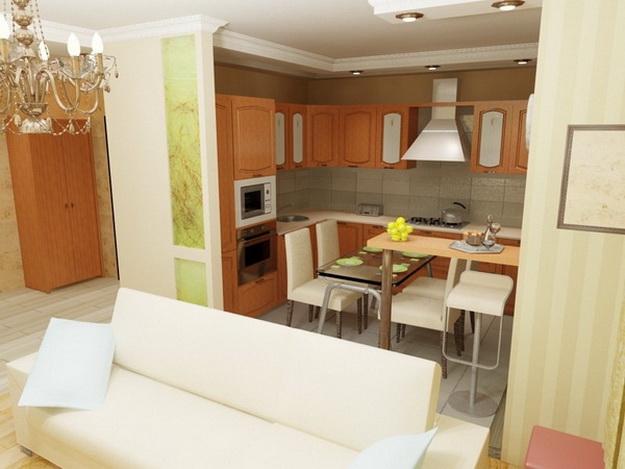 Интерьер кухни совмещенной с гостиной - практичная красота 1