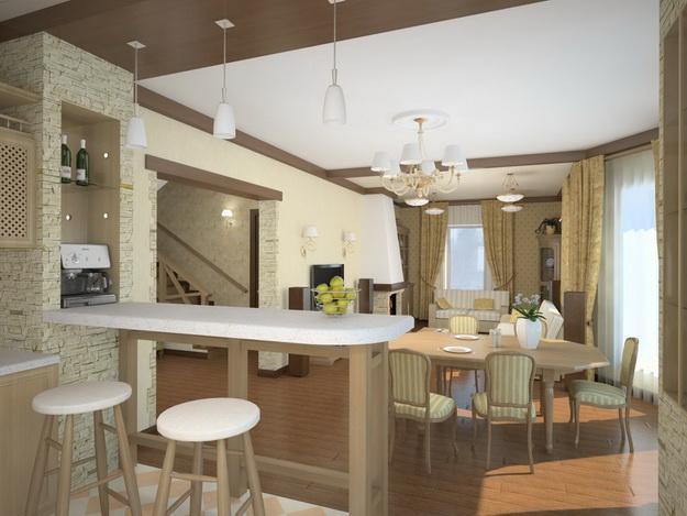 Интерьер кухни совмещенной с гостиной - практичная красота 2