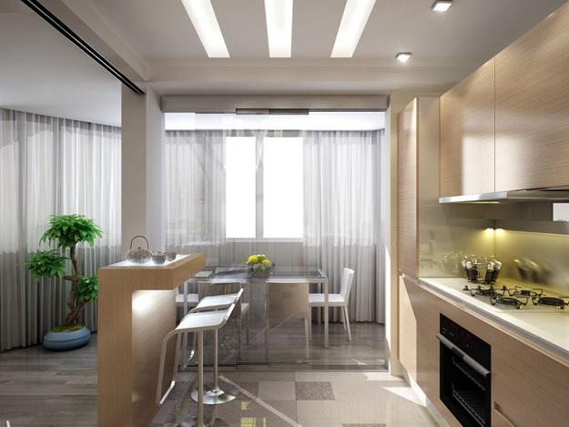 Интерьер кухни совмещенной с гостиной - практичная красота 3