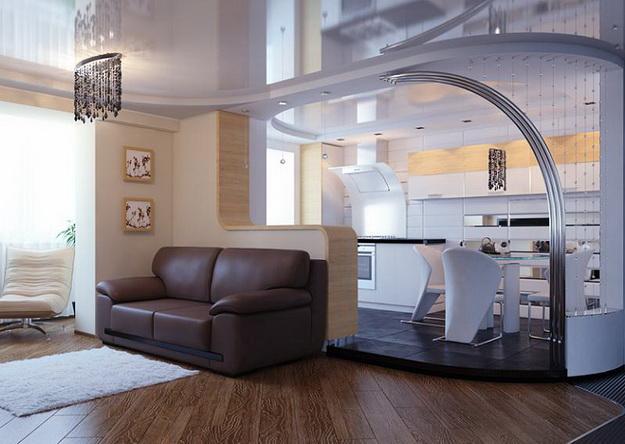 Интерьер кухни совмещенной с гостиной - практичная красота 8