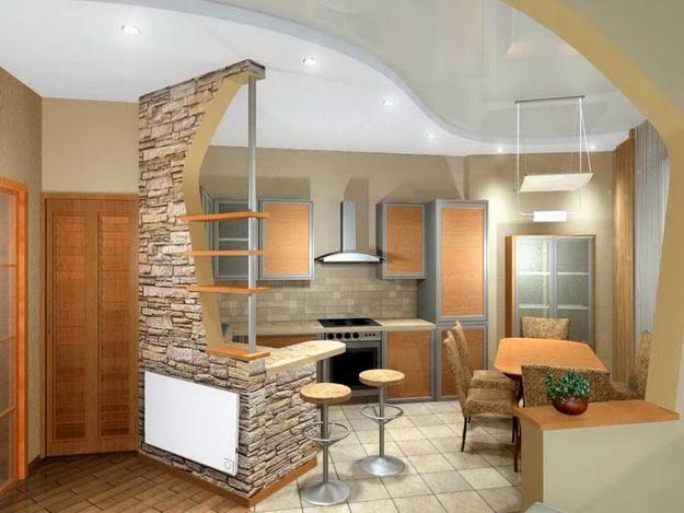 Современный дизайн кухни студии с вариантами 2