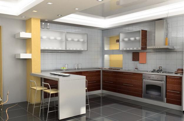 Современный дизайн кухни студии с вариантами 4