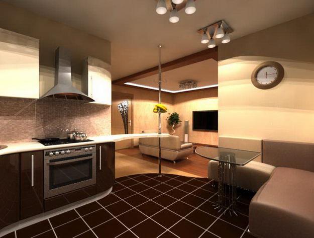 Современный дизайн кухни студии с вариантами 5
