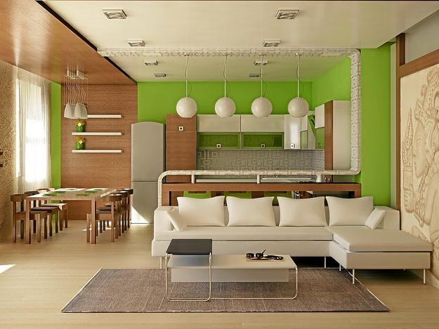 Современный дизайн кухни студии с вариантами 7