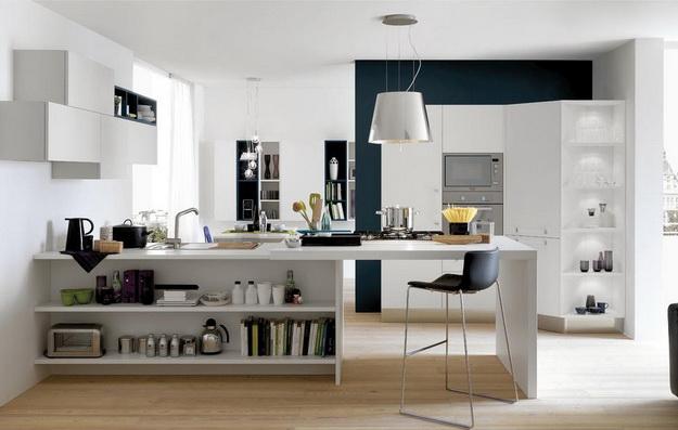 Интересный дизайн кухни студии в квартире 2