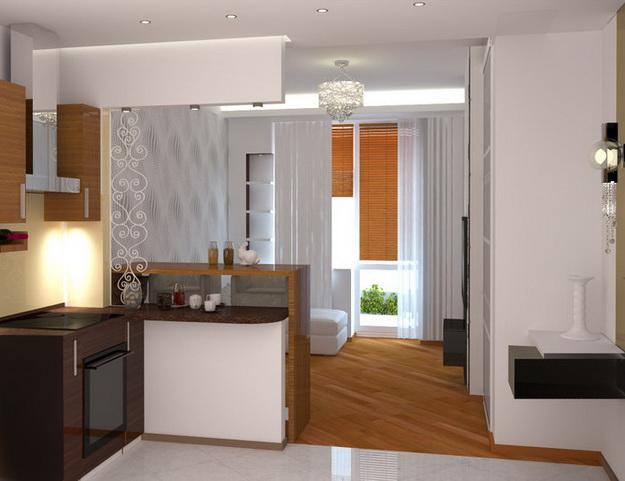 Интересный дизайн кухни студии в квартире 3