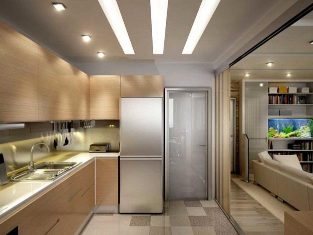 Интересный дизайн кухни студии в квартире 5