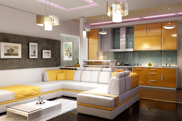 Интересный дизайн кухни студии в квартире 6