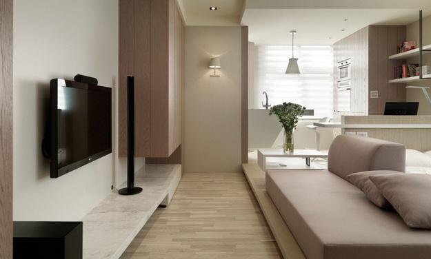 Интересный дизайн кухни студии в квартире 7