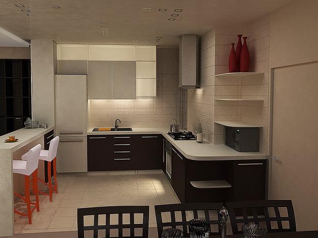 Интересный дизайн кухни студии в квартире 8