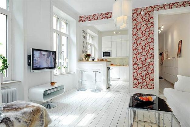 Скандинавский дизайн – кухни, совмещенные с гостиной 1