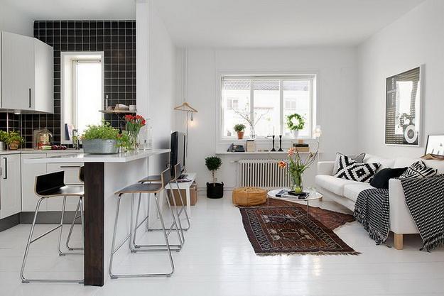 Скандинавский дизайн – кухни, совмещенные с гостиной 4