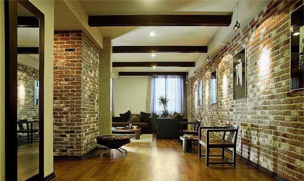 Интерьерная отделка стен под кирпичную кладку - варианты дизайна 1