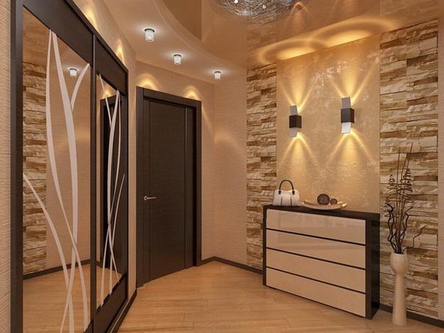 Отделка декоративным камнем коридора и прихожей 4