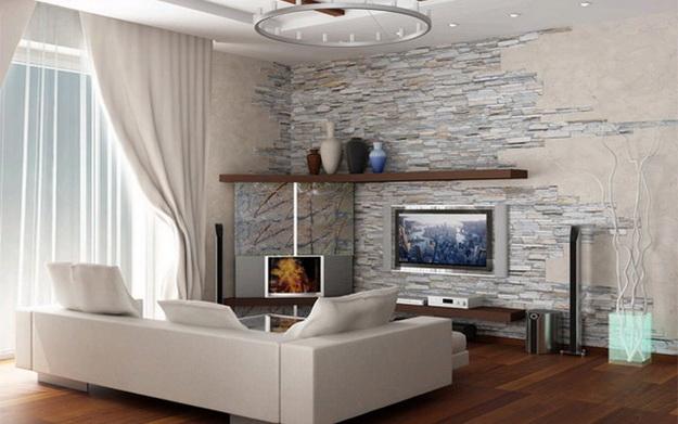 Отделка искусственным камнем гостиной в квартире 6