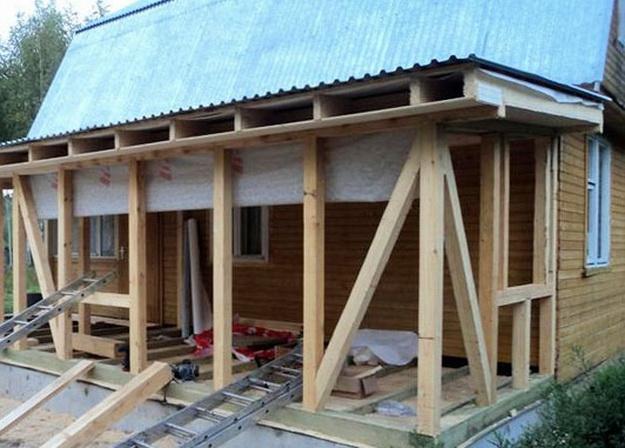 Как построить веранду к дому каркасный своими руками